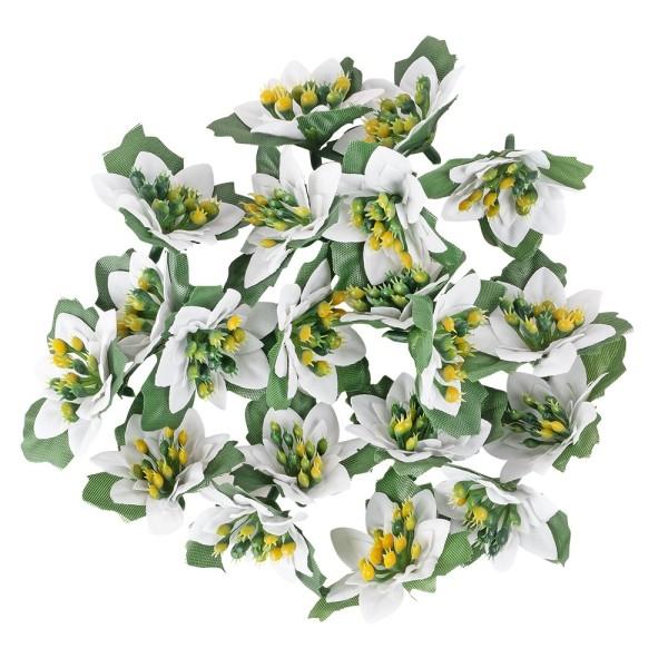Deko-Blüten Weihnachtsstern 2, Ø 4 cm, weiß mit grünen Blättern, 20 Stück