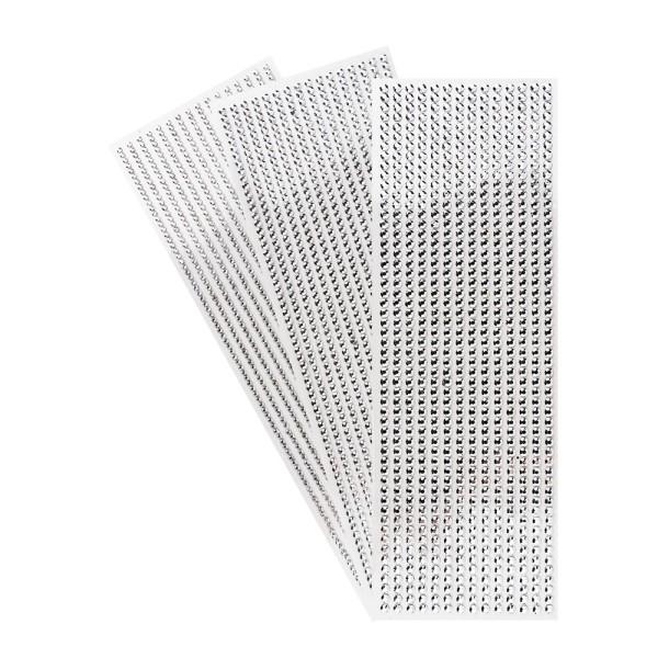 Schmuckstein-Bordüren, metallic, 10cm x 30cm, verschiedene Größen, facettiert, silber, 3 Bogen