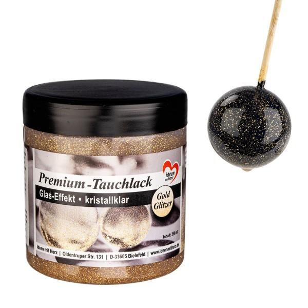 Premium-Tauchlack, Glas-Effekt, kristallklar mit Gold-Glitzer, 250ml