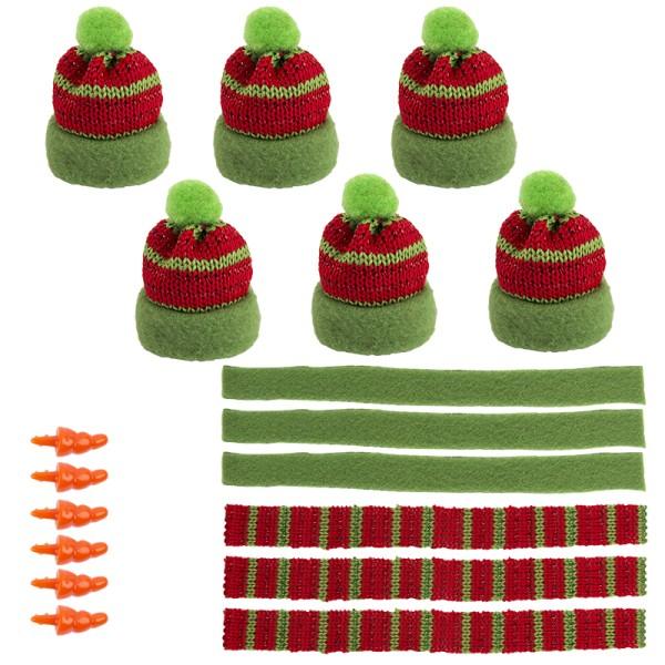 Winter-Outfit 3, Mützen, Schals & Nasen, 18-teilig, für Ø 4cm, grün/rot