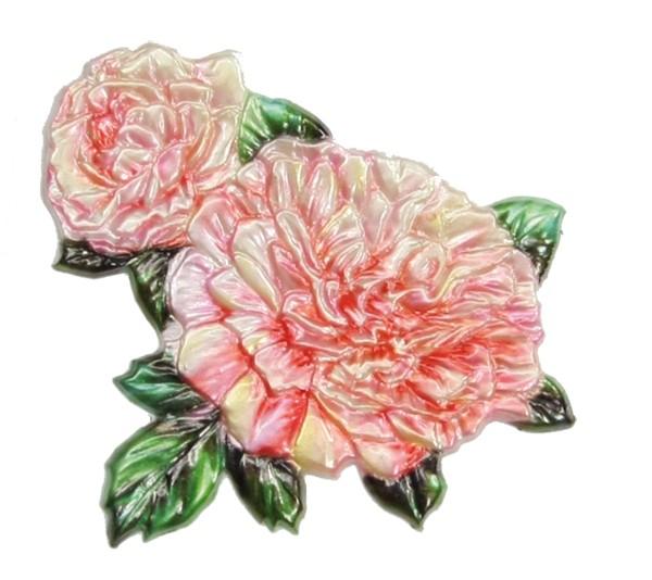 Wachsornament Begonie, farbig, geprägt, 7,5 x 8 cm