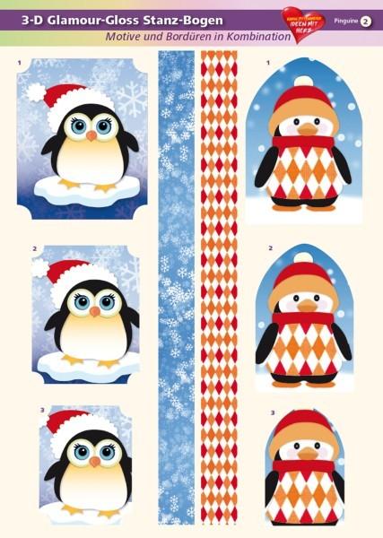 3-D GlamourGloss Bogen, Pinguine, DIN A4, Motiv 2