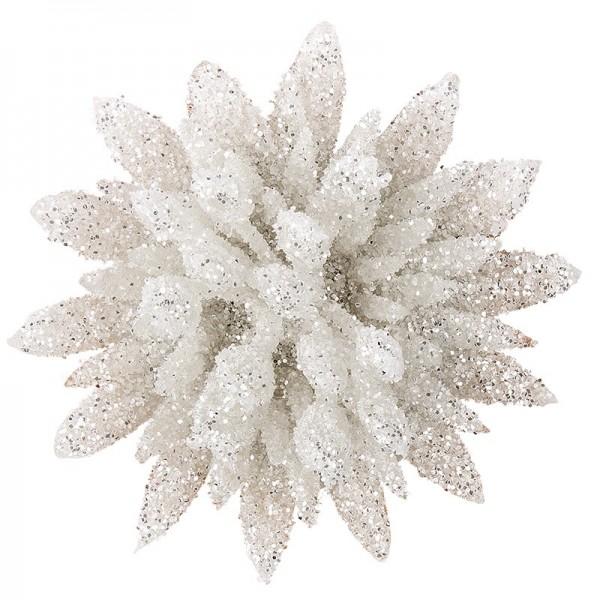Deko-Blüten, Frosty 2, 30g, weiß mit Glitzer