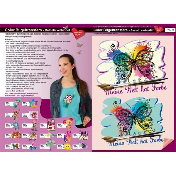 Color Bügeltransfers, DIN A4, Bastelspruch, Schmetterling