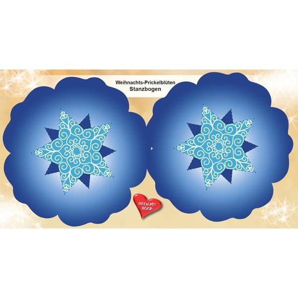 Prickelblüten-Stanzbogen, Xmas, 2Blüten, Ø15cm, blau, 6er Set