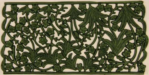 Wachsornament-Platte Blätter und Stiele, 16 x 8 cm, schilfgrün