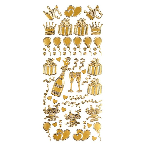 Sticker, Feierlichkeiten, gold