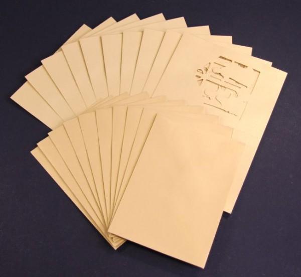 Perlmutt-Grußkarten, Heilige Familie, 10 Stück