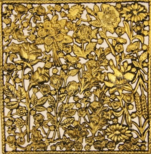 Wachsornament-Platte Rosen, 16 x 16 cm, schwarz angegoldet