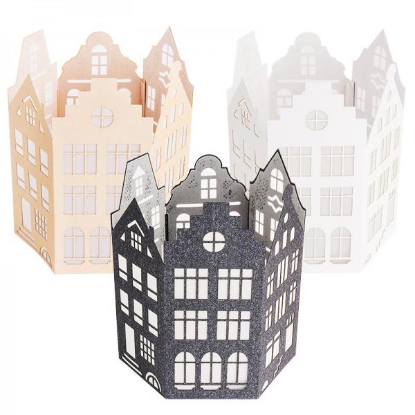 Laser-Laternen, Häuser, 11,8cm x 10,2cm, 14,3cm hoch, inkl. Transparentpapiere, 3 Stück