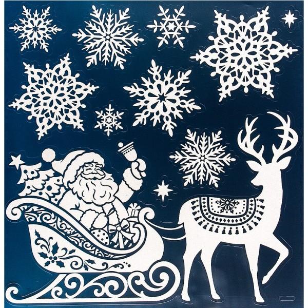 Glimmer-Relief-Sticker, Weihnachtsmann, XL 31,5x30,5 cm