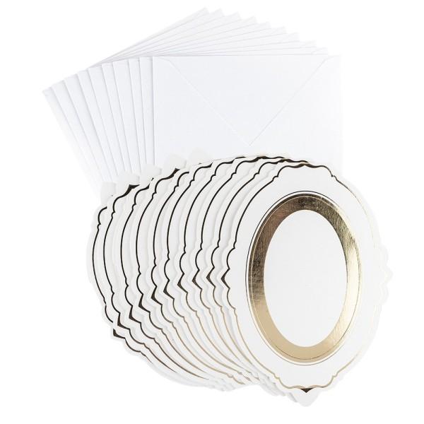 Aufsteller-Grußkarten, Ovalrahmen, B6, mit Veredelung, inkl. Umschläge, 10 Stück