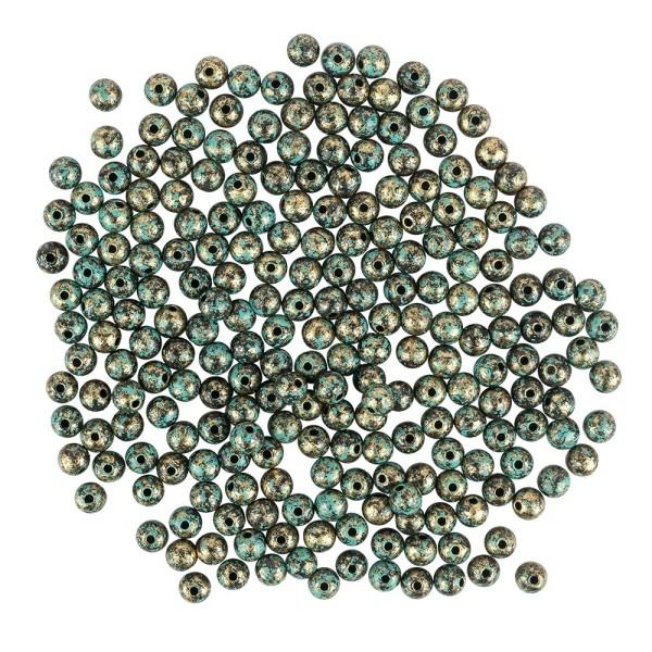Perlen, Rund, marmoriert, Ø 0,8cm, hellgold mit grüner Patina, 230 Stück