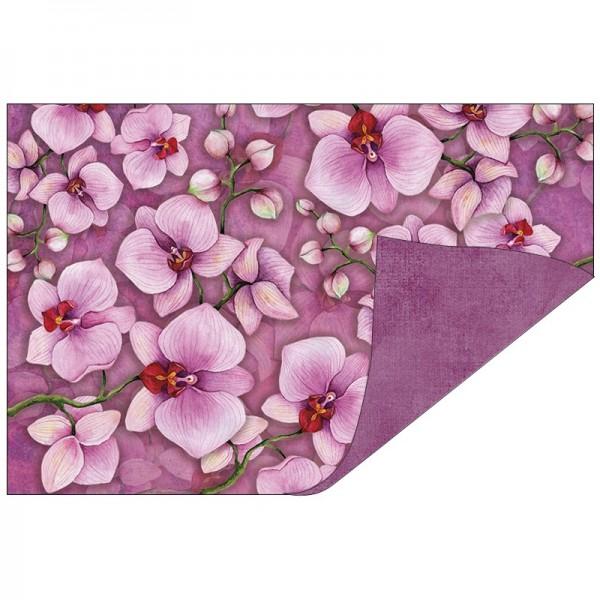 Faltpapiere, Duo-Design 40, 10cm x 15cm, Orchideen/pink, 50 Stück