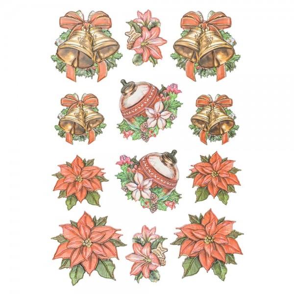 3-D Relief-Sticker, Nostalgie-Weihnachten 4, versch. Größen, selbstklebend