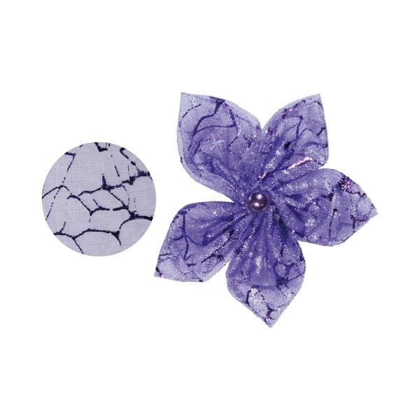 Organza-Stanzform, Krakelee, rund, Ø6cm, violett, 50 Stück