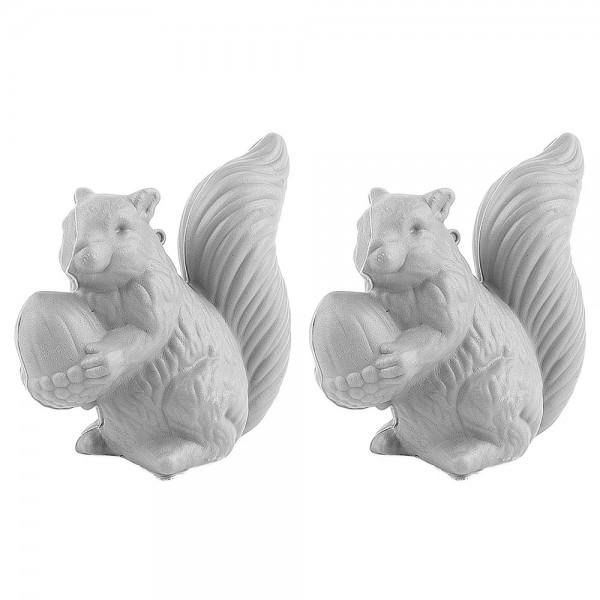 Deko-Eichhörnchen, Rohlinge, 11cm x 10cm x 5cm, 2 Stück