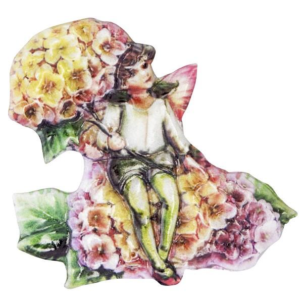 Wachsornament Elfen mit Blüten 2, farbig, geprägt, 6,5-7cm
