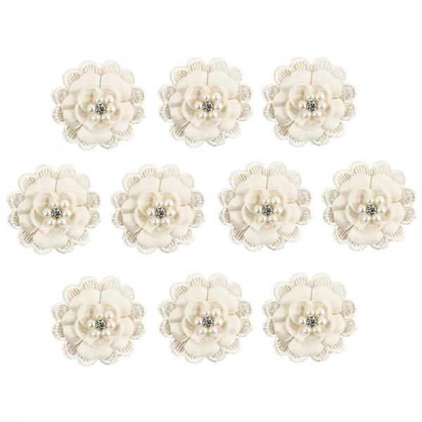 Spitzen-Blüten, mit Perlen, Ø 5cm, creme, 10 Stück