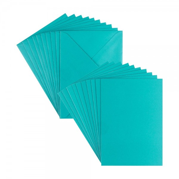 Grußkarten, Perlmutt, C6, petrol, inkl. Umschläge, 10 Stück