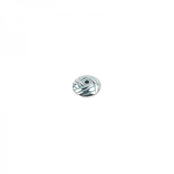 Perlen, Knoten, 0,4cm x 1cm, silber mit grüner Patina, 95 Stück