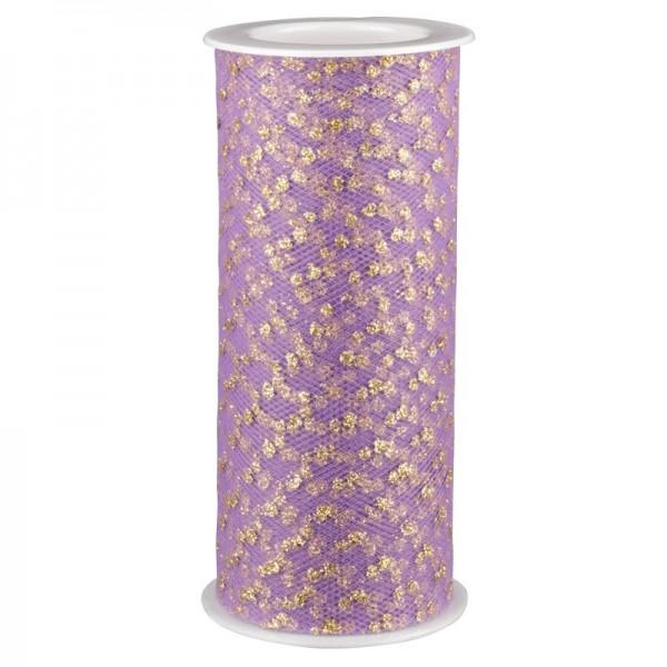 Deko-Tüll-Band mit Goldpunkten, 12 cm x 5 m, flieder