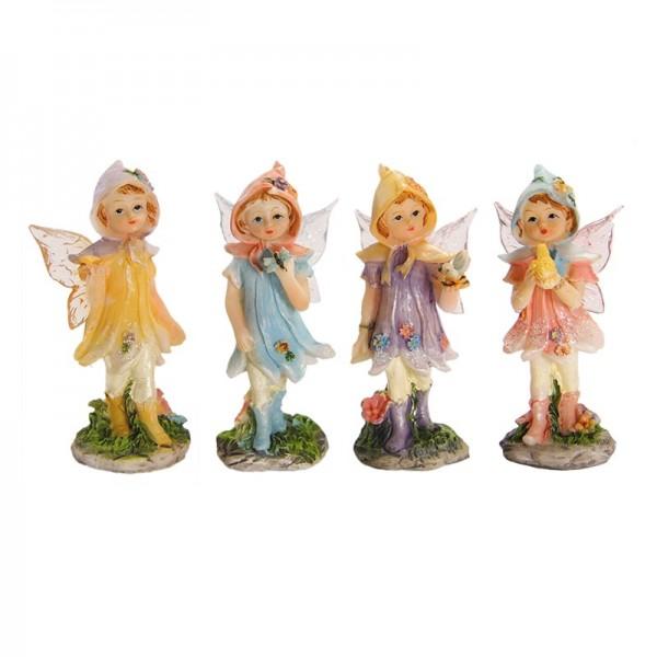 Deko-Elfen mit Acrylflügeln und Tieren, stehend, 7 x 3 cm, 4er Set
