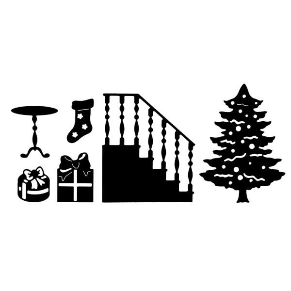 Stanzschablonen, Weihnachtsbaum & Treppe, 6 Stück