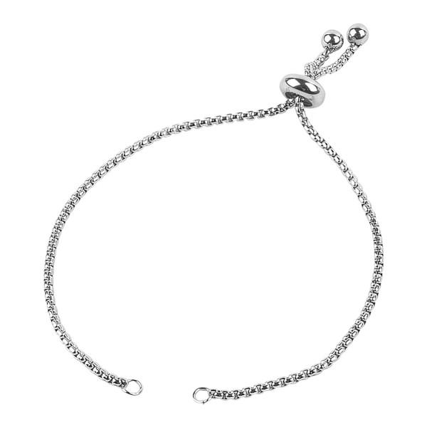 Armband mit Schiebeverschluss, 12cm lang, Edelstahl, silber