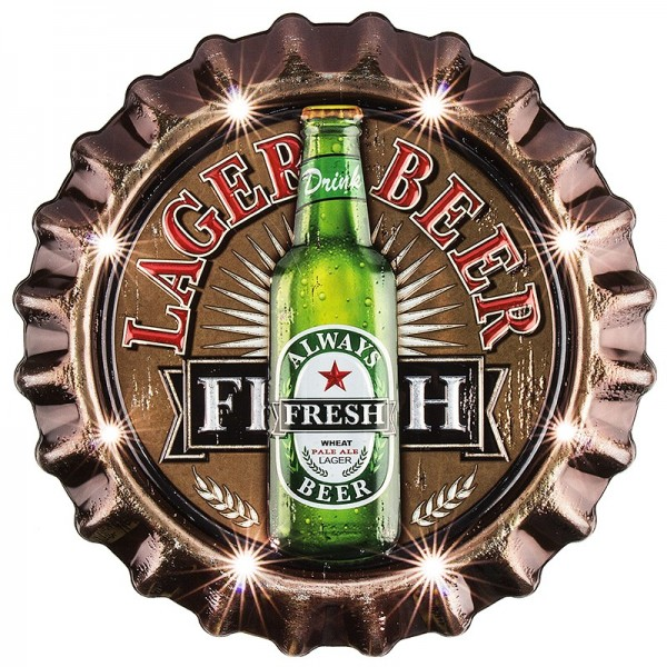 Relief-Sticker, Retro Lager Beer, 30,5cm x 31,5cm, mit LED-Beleuchtung
