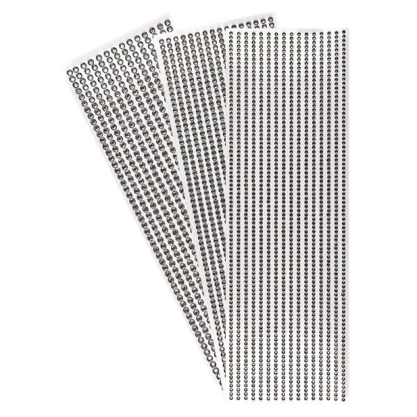 Schmuckstein-Bordüren, rund: Ø 3mm, Ø 4mm, Ø 5mm, selbstklebend, facettiert, anthrazit, 3 Bogen