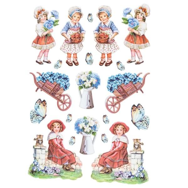 3-D Relief-Sticker, Nostalgie-Kindermotive 1, verschiedene Größen, selbstklebend