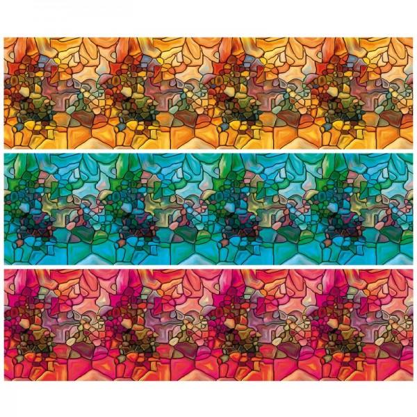 """Zauberfolien """"Tiffanyeffekt Steine"""", Schrumpffolien für Ø10cm, 9cm hoch, 6 Stück"""