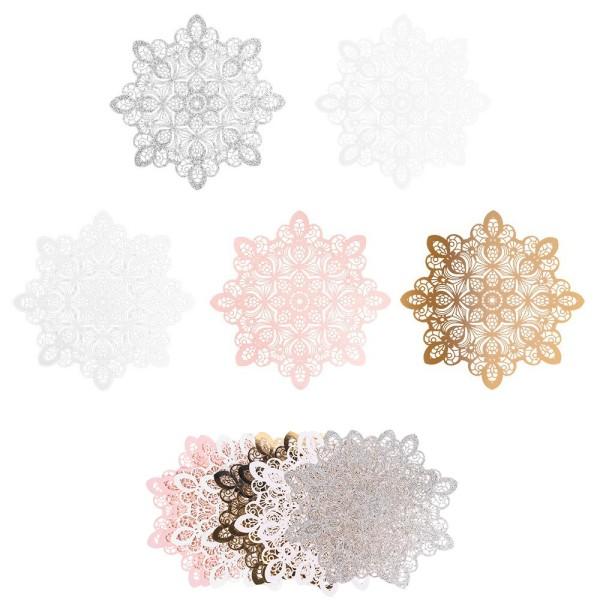 XL-Laser-Ornamente, Zierdeckchen 13, verschiedene Farben, Ø 20cm, 10 Stück