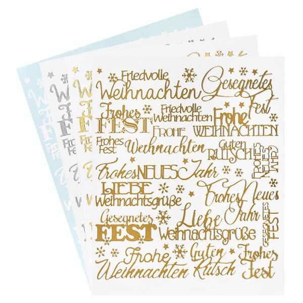 """Stickerbogen """"Handlettering Art"""", Weihnachten, gold, silber, weiß, 20cm x 23cm, 4 Bogen"""