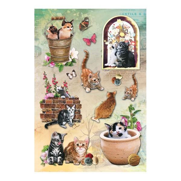 3-D Stickerbogen, Katzen 1, 12,5 x 18,5 cm