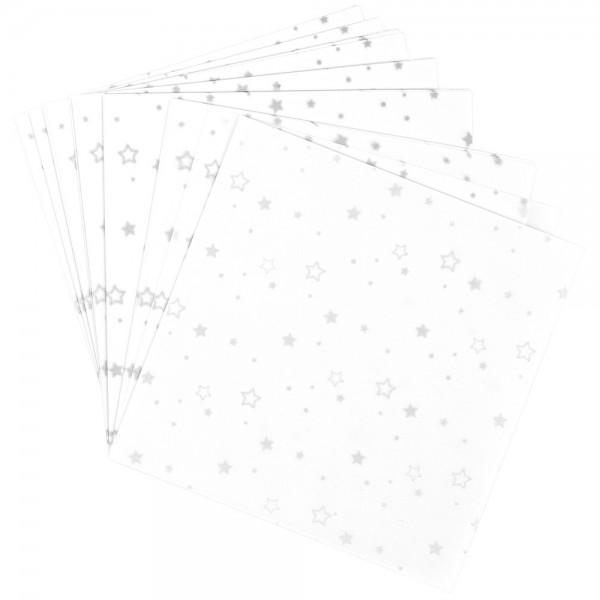 Faltpapiere, transparent, Sterne, 15cm x 15cm, 110 g/m², weiß/silber, 100 Stück