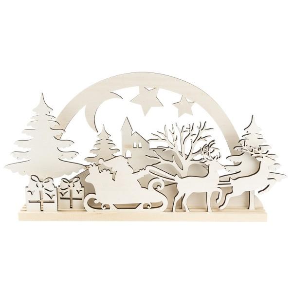 3-D Landschaft zum Stecken, Weihnachtsmann, Podest & versch. Holzelemente, 11-teilig