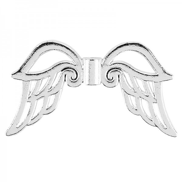 Filigrane Engelsflügel, Design 3, 3,7cm, silber, 10 Stück