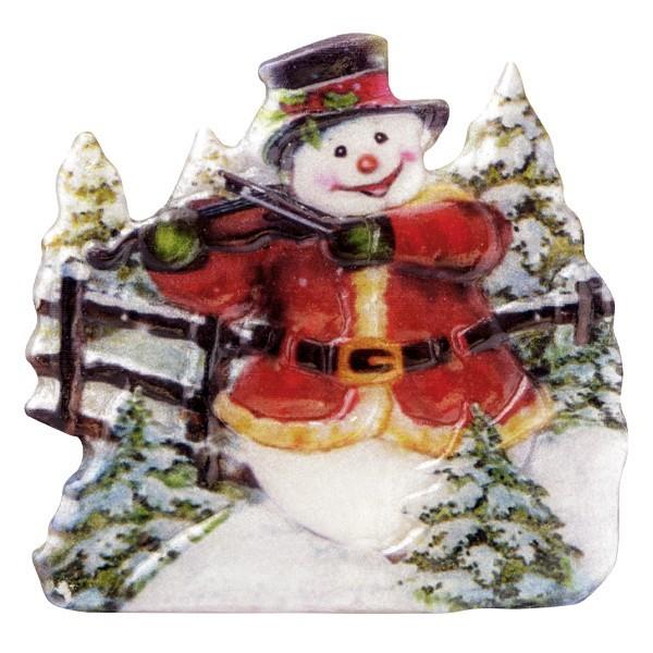 Wachsornament Schneemänner 8, farbig, geprägt, 6,5cm