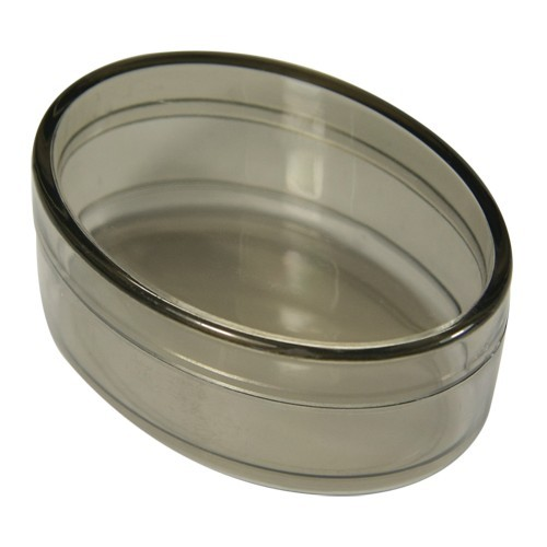 Acryl-Oval-Dosen, 6,4 x 4,4 x 3 cm, 2 Stück, grau