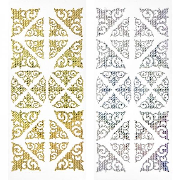 Sticker, Ecken, gold & silber, Laserzauberfolie, 10 Bogen