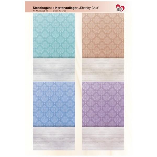 """Stanzbogen, 4 Kartenaufleger """"Shabby Chic"""", DIN A4, Design 5"""
