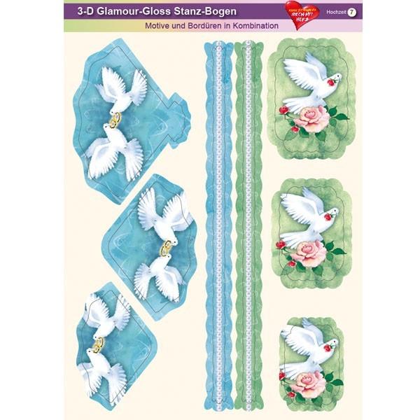 3-D GlamourGloss Bogen, Hochzeit, DIN A4, Motiv 7