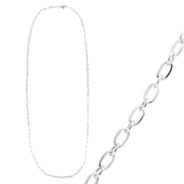Glieder-Halskette, aus Edelstahl, Design 1, 70cm lang, Stärke: 3,5mm, silber