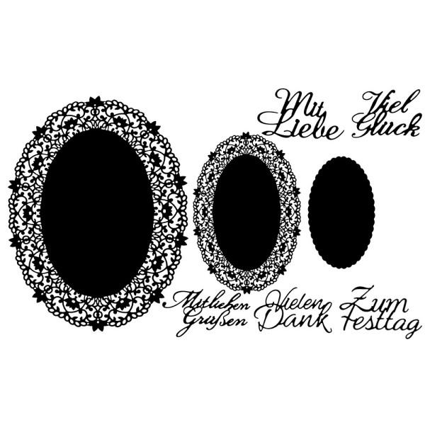 Stanzschablonen, Ovale Zierdeckchen & Schriften, 6cm x 3,8cm bis 26,6cm x 20cm, 8 Stück