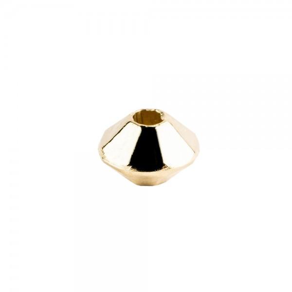 Perlen, Raute, facettiert, 0,6cm x 0,4cm, hellgold, 900 Stück