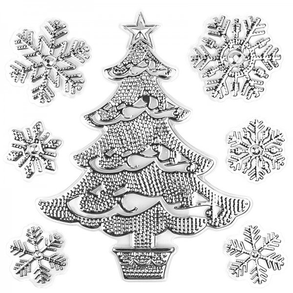 Relief-Sticker in Metallic-Optik, Weihnachtsbaum 2, 18cm x 17,5cm, silber