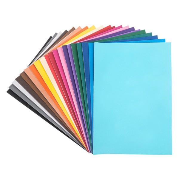 Moosgummi, selbstklebend, DIN A4, 2mm, 20 verschiedene Farben, 20 Bogen