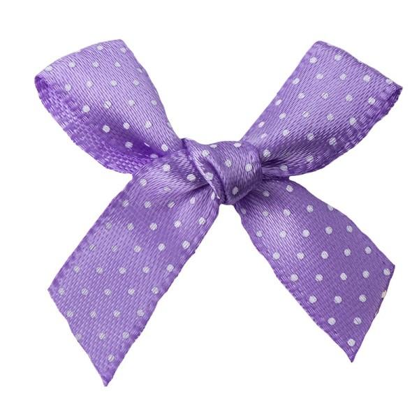 Schleifen, gepunktet, Bandbreite 10mm, 50 Stück, violett mit weißen Punkten